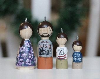 Personalized Ornaments Family Custom Ornaments Peg Doll Portraits / Wooden Dolls / Heirloom Wooden Toy