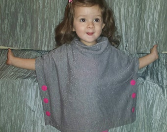 Silver sparkle toddler warm poncho handmade pullover 2T 3T with pink buttons