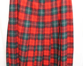 VINTAGE Pendleton Woolen Mill Red Plaid Skirt -Lennox Tartan - Pleated skirt - 100% virgin wool