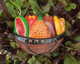 hand carved vintage Jamaica souvenir fruit basket