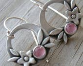 Summer Happiness Pink Tourmaline Sterling Silver Earrings PMC Artisan Jewelry October Birthstone