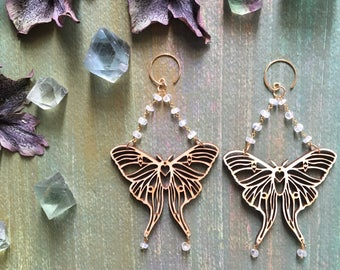 Wooden Luna Moth Earrings with Gold and Rainbow Moonstone