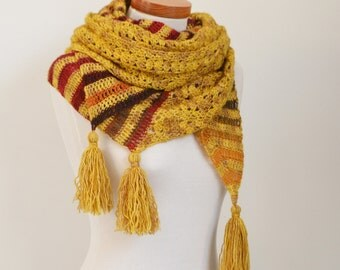Crochet shawl, mustard, golden yellow, stripes, P517