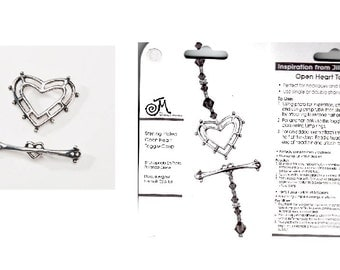 Jill MacKay Open Heart Toggle Clasp Silver Plated 1 Set - Jewelry Craft Findings fnt