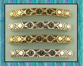 2 Hole Beads Dragon Scale Pattern Bangle Bars ~ Renaissance ~ Silver & Gold Metal ~ Qty 4