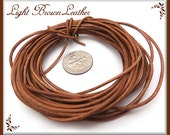 Natural Light Tan Leather Cord, Brown Leather Cord, 16ft Leather, Soft Leather Cord, Natural Brown Cord, 1.5mm Leather Cord