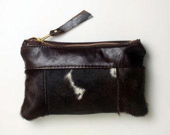 Mini Cowhide Clutch Bag Leather Pouch Purse
