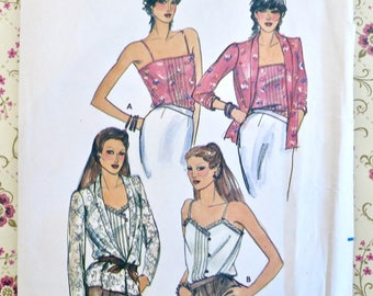 Vintage 1980s Womens Jacket and Camisole Top Pattern - Butterick 3131