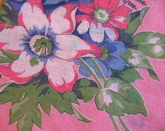 lovely pink with blue vintage hanky