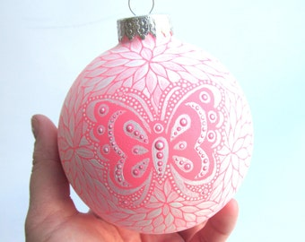 Pink Butterfly: Hand painted glass ornament Large 4 inch ornament painted bauble