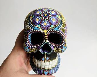 Painted Skull Small hand painted skull Sugar skull skull art colorful Skull Art