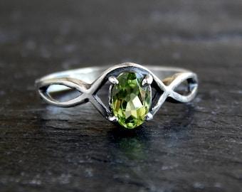 Peridot Twist Ring: Sterling silver, natural preidot, size 5.75, 6x4mm oval gemstone, August birthstone, Celtic knot jewelry, green stone