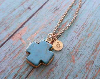 Cross Necklace/Natural Turquoise Cross Gold Initial/Confirmation Baptism Gift/Southwest Rustic Gift/December Birthstone/Blue Gold Cross/G7