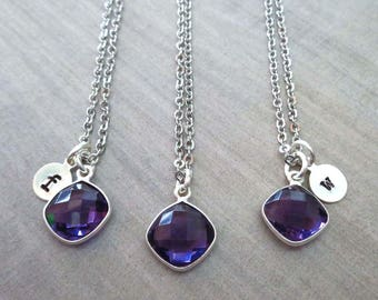 Amethyst Initial Necklace/Amethyst Cushion /February Birthstone/Purple Stone Initial/Purple Wedding Bridesmaid Gift 6yr Anniversary-G15