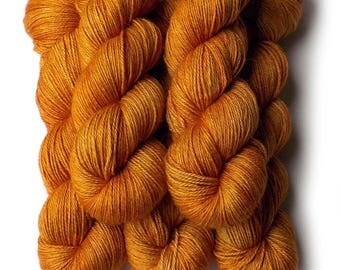 Hand Dyed Yarn Alpaca Silk Cashmere Yarn Sock Fingering, Turkish Apricot