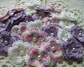 Crochet Double Layered Flowers Set of 25 in a Princess Theme