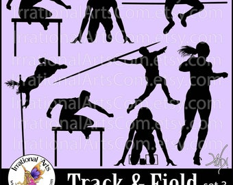 Track and Field set 3 Silhouettes - Vinyl Ready Images digital clipart graphics - 8 EPS, 8 SVG & 8 Png  hurdles running (Instant Download)