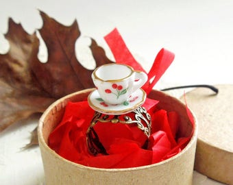 Tea Cup Ring - Tea Party Porcelain and Filigree Ring - Mother's Day Gift