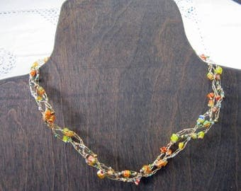 Luminous - Braided Wire Crochet Necklace with Millefiori Chips