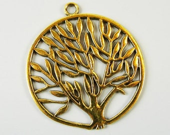 Antique Golden color Tree Of Life Pendant Drop, 2 pcs, 47mm, NF & LF, CN1014