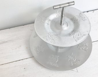 Vintage Silver-Tone Two Tier Tin Serving Tray with Embossed Rose Design- Made in Canada