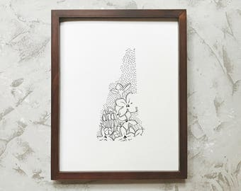 New Hampshire> Purple Lilac> State Flower Drawing> Giclee Print