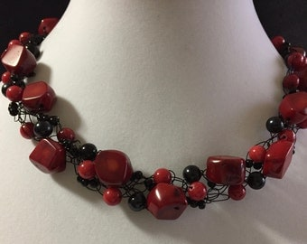 Hand Made Crocheted Necklace with Red Coral and Black Onyx.