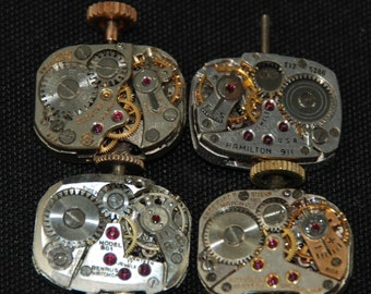 Vintage Antique Small Rounded Square Watch Movements Steampunk Altered Art Assemblage R 59