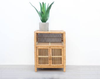 Boho Rattan Wicker Side End Table