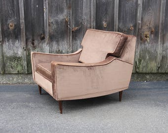 Gorgeous Chocolate Brown Velvet Midcentury Armchair. T.H. Robsjohn-Gibbings / Dunbar Style Chair