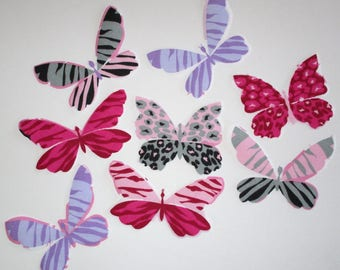 8 Pink Purple Butterfly Iron On Appliques 4""