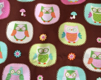 2 Yards of Pink and Brown Owl  Fabric