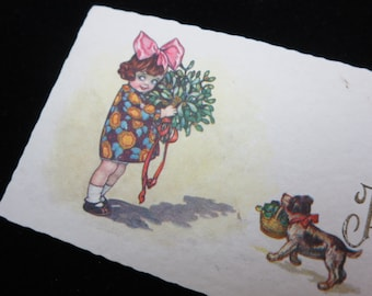 1920s Christmas Card - Joyeux Noel, French, Small, Girl with Puppy and Mistletoe