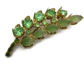 Rhinestone Brooch - Vintage Juliana Style, Green, Brass Filigree, Frosted Stones, Costume Jewelry