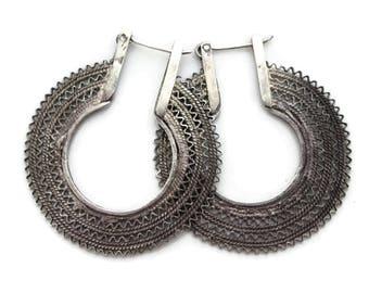 Large Silver Tribal Hoop Earrings - Boho Jewelry, Pierced