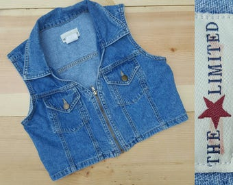 Vintage Denim Vest  //  Vtg 90s THE LIMITED Made in the USA Cropped Stone Wash  Zip Front Denim Vest //  womens xs or girls large