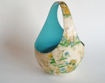 Vintage Decoupage Industries Barry Patch Egg Shaped Easter Basket