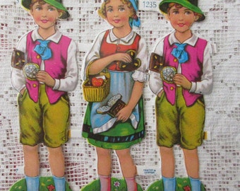 Vintage PZB Germany Paper Scraps Lithographed Die Cut 6 Hansel & Gretel Sweet Children  PZB 1235