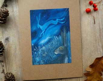 The Starlight Hare. Greeting Card with Envelope