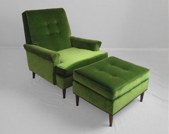 NEW mid century modern green velvet lounge chair & ottoman