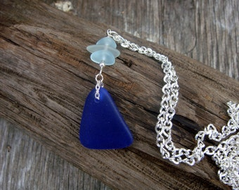 Hawaiian Royal Blue Sea Glass Pendant on SIlver Plated Necklace Jewelry