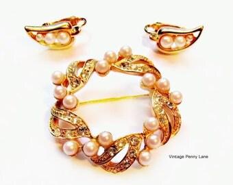 Vintage Brooch / Earrings, Gold, Rhinestones, Faux Pearls
