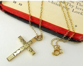 Antique Gold Filled Cross Pendant Necklace