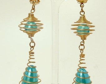 Mid Century Spiral Wire Wrapped Beaded Earrings Space Age Design Statement Earrings