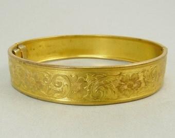Vintage Hinged Bangle Bracelet Victorian Revival Bracelet