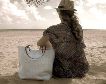 Simple Linen Tote Bag, Natural Beach Bag