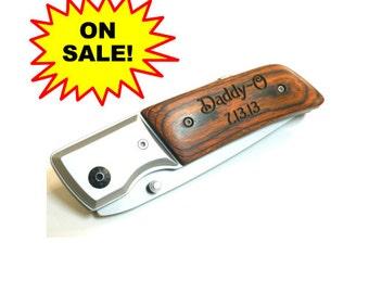 Personalized Pocket Knife, LED Light, Best Man Gift, Groomsmen Gift, Laser Engraved,Pakkawood Knife, Nylon Pouch,LR02
