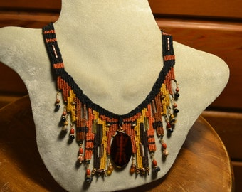 Woven Necklace with Glass Pendant 841