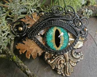 Gothic Steampunk Black Wire and Blue Green Eye Pin Pendant