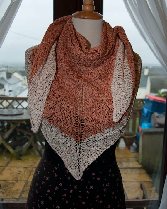 Handknitted Shawl/Shawlette in Shades of Green